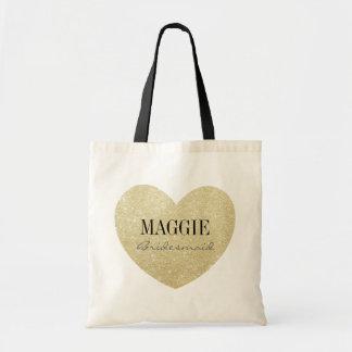 Glitter-Print Heart Shape Bridesmaid personalized