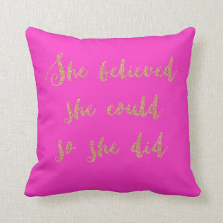Glitter print quote cushion hot pink and rose gold