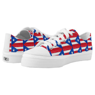 Glitter Puerto Rico flag low top sneaker shoes Printed Shoes