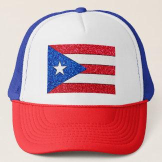 Glitter Puerto Rico flag trucker hat