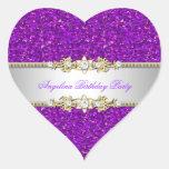 Glitter Purple Birthday Party Gold Jewel Diamond