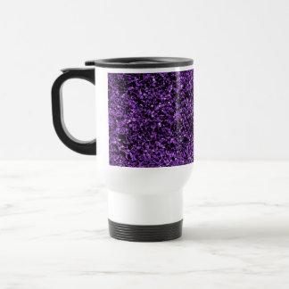 Glitter purple stainless steel travel mug