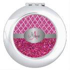 Glitter quatrefoil Monogram Compact Mirror