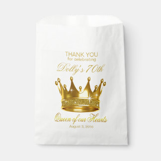 Glitter Queen of our Hearts 70th Birthday Crown Favour Bag