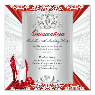 Glitter Quinceanera 15th Birthday Party Red Heels 13 Cm X 13 Cm Square Invitation Card