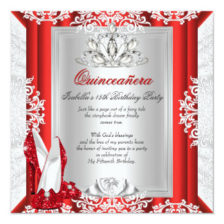 Glitter Quinceanera 15th Birthday Party Red Shoes 13 Cm X 13 Cm Square Invitation Card