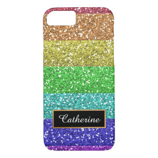 Glitter Rainbow Personalized  with Name iPhone 8/7 Case