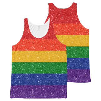 Glitter Rainbow Pride Flag All-Over Print Tank Top