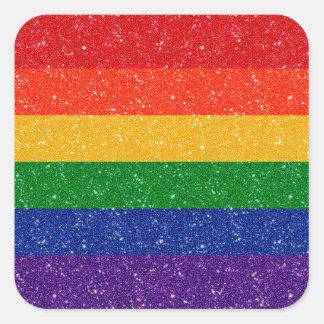 Glitter Rainbow Pride Flag Square Sticker