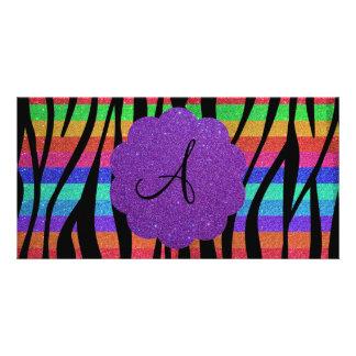Glitter rainbow zebra stripes monograms photo greeting card