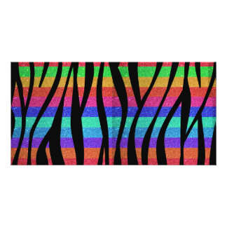 Glitter Rainbow zebra stripes Photo Card
