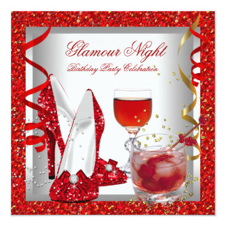 Glitter Red Glamour Night Cocktails Birthday Party 5.25x5.25 Square Paper Invitation Card