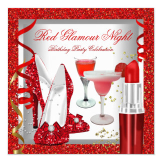 Glitter Red Glamour Night Cocktails Party 13 Cm X 13 Cm Square Invitation Card