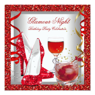 Glitter Red Glamour Night High Heel Shoes Birthday 5.25x5.25 Square Paper Invitation Card