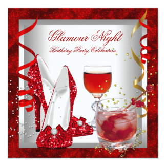Glitter Red Glamour Night High Heel Shoes Party 5.25x5.25 Square Paper Invitation Card