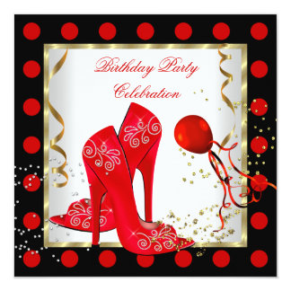Glitter Red Heels Gold White Birthday Party 5.25x5.25 Square Paper Invitation Card