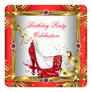 "Glitter Red High Heel Shoes Gold White Birthday 2 5.25"" Square Invitation Card"