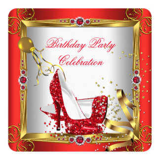 "Glitter Red High Heel Shoes Gold White 5.25"" Square Invitation Card"