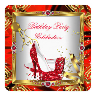 Glitter Red High Heel Shoes Gold White Silk 13 Cm X 13 Cm Square Invitation Card