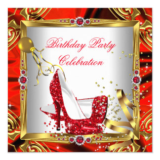 "Glitter Red High Heel Shoes Gold White Silk 5.25"" Square Invitation Card"
