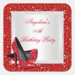 Glitter Red High Heels Birthday Party Diamond Square Sticker