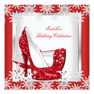 Glitter Red High Heels White Snowflakes Birthday 5.25x5.25 Square Paper Invitation Card