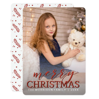Glitter Red Merry Chrismtas Photo Card