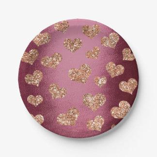 Glitter Rose Gold Hearts Confetti Burgundy Copper 7 Inch Paper Plate