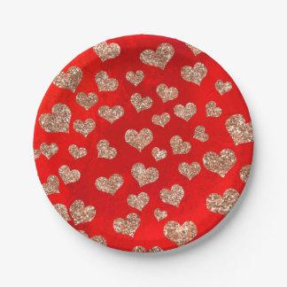 Glitter Rose Gold Hearts Confetti Red Vivid Copper Paper Plate