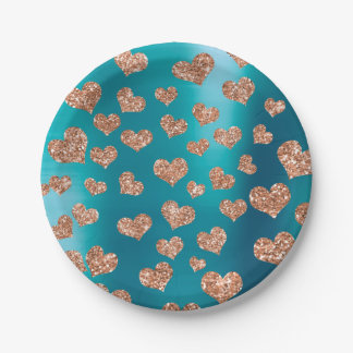 Glitter Rose Gold Hearts Confetti Tiffany Copper 7 Inch Paper Plate