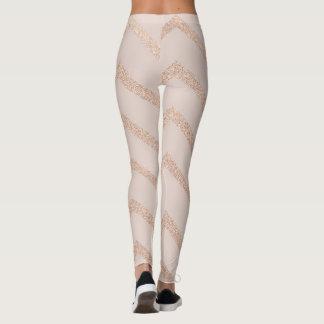 Glitter Rose Gold Strip Zig Zag Leggings