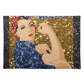 glitter rosie the riveter placemat
