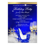 Glitter Royal Blue High Heel Shoes Gold Champagne 13 Cm X 18 Cm Invitation Card