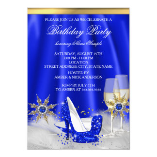 Glitter Royal Blue High Heels Gold Champagne Party 11 Cm X 16 Cm Invitation Card