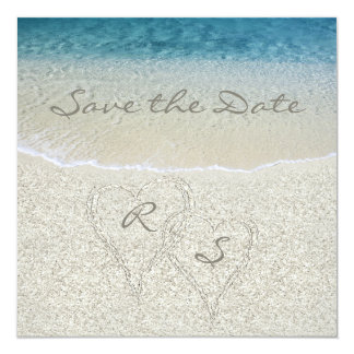 Glitter Sandy  Beach Wedding Save the Date 13 Cm X 13 Cm Square Invitation Card