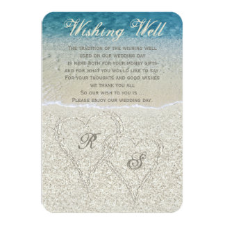 Glitter Sandy  Beach Wedding Wishing Well 9 Cm X 13 Cm Invitation Card