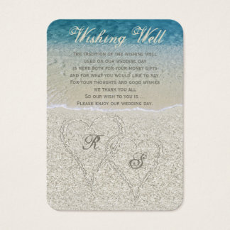 Glitter Sandy Beach Wedding Wishing Well Business Card