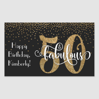 Glitter & Script 50 & Fabulous Happy Birthday Rectangular Sticker