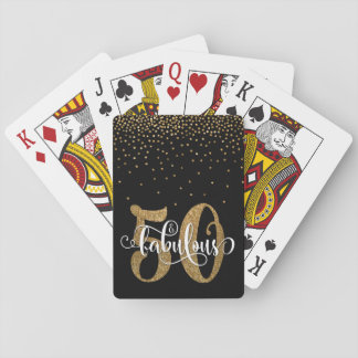 Glitter & Script 50 & Fabulous on Black, Birthday Playing Cards
