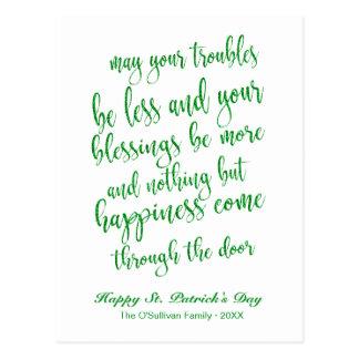 Glitter Script Irish Blessing St. Patrick's Day Postcard