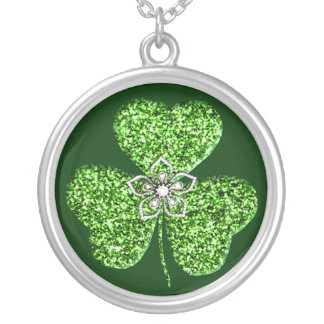 Glitter Shamrock And Flower Necklace