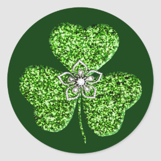 Glitter Shamrock And Flower Stickers