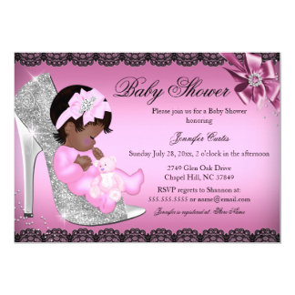 Glitter Shoe & Lace Girl Baby Shower Invite