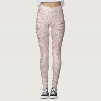 Glitter Silver Brush White Pink Rose Grill Sparkly Leggings
