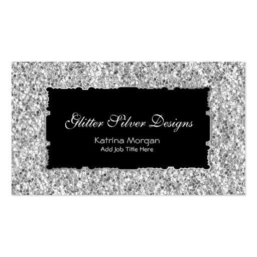 Glitter Silver Elegance Business Cards