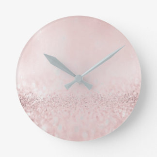 Glitter Silver Gray Minimal Metallic Bean Blush Round Clock