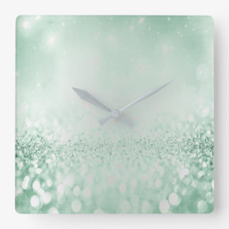 Glitter Silver Gray Minimal Metallic Cali Green Square Wall Clock