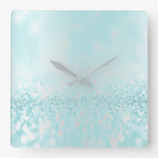 Glitter Silver Gray Minimal Metallic Ocean Tiffany Square Wall Clock
