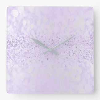 Glitter Silver Gray Minimal Metallic Purple Plum Square Wall Clock