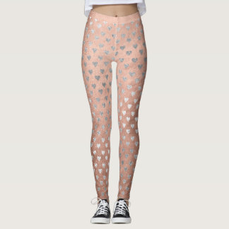 Glitter Silver Small Hearts Pink Rose Gold Sparkly Leggings